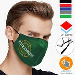 Custom 2 Layer Performance Mask w/ Nose Bridge, Adjuster Face Masks