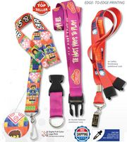 3/4 Inch Super Soft Polyester Multi-Color Sublimation Lanyard With Buckle