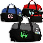 Custom Two Tone Zippered Duffel Bag w/Shoulder Strap