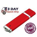 Custom 128 MB USA Decorated Slim Plastic USB Drive w/Chrome Accents & Key-Loop