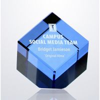 1? Blue Crystal Cube Paperweight