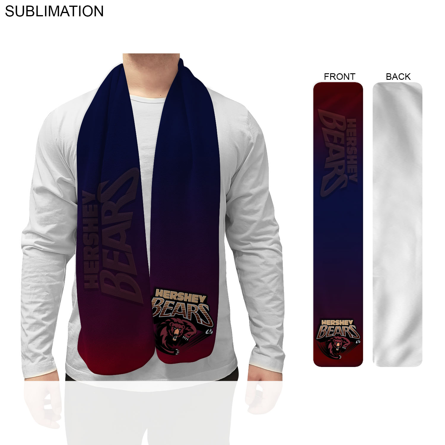 Fleece Scarf, 9x60,  SU197-2, Full Colour Imprint
