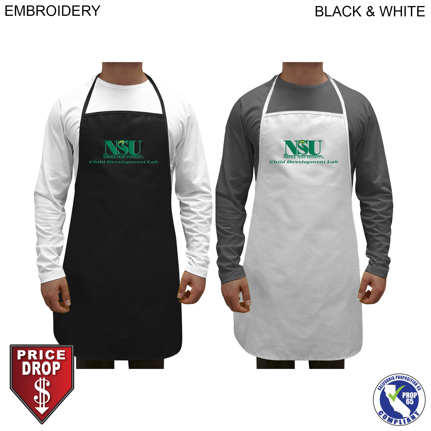 Twill Imported Bib Apron, 28x31,  EM542, Embroidered Logo