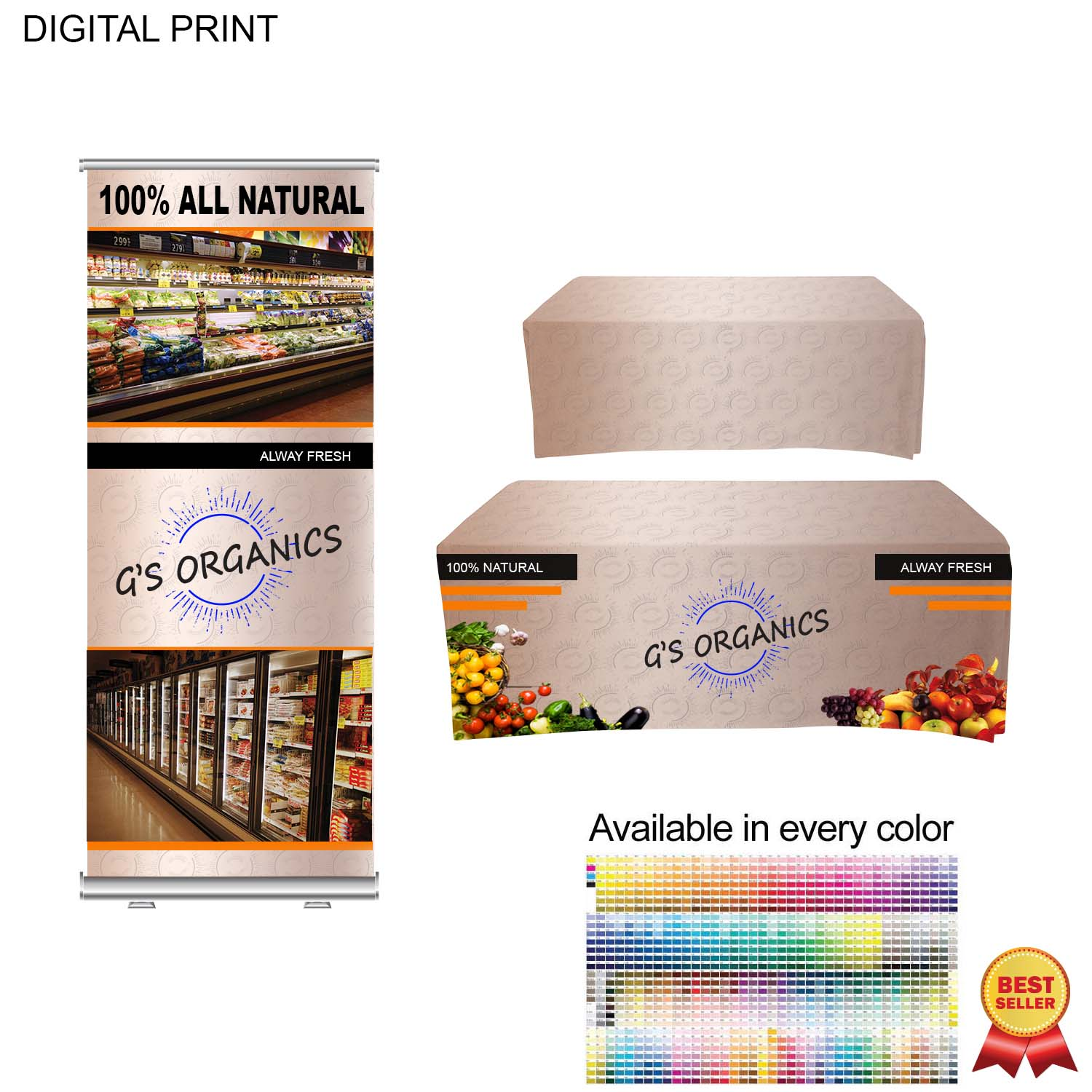 Trade Show Package, Premium Banner + Sublimated Table Throw SU583, Full Colour Imprint