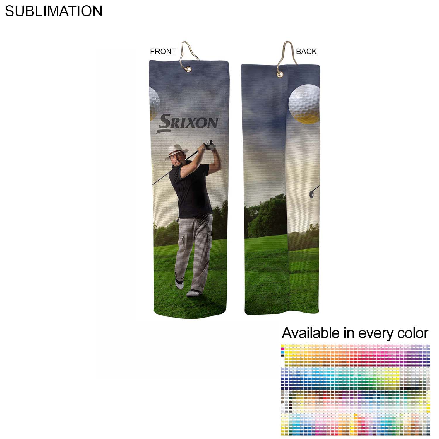 Sublimated Microfiber Terry Trifolded Golf Towel, 5x18 - Full Colour Imprint (#SU178)