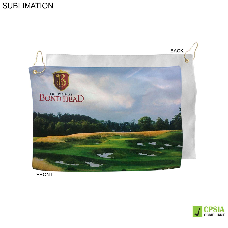 Microfiber Suede Golf Towel, 12x18, Sublimated - Full Colour Imprint (#SU448W-2)