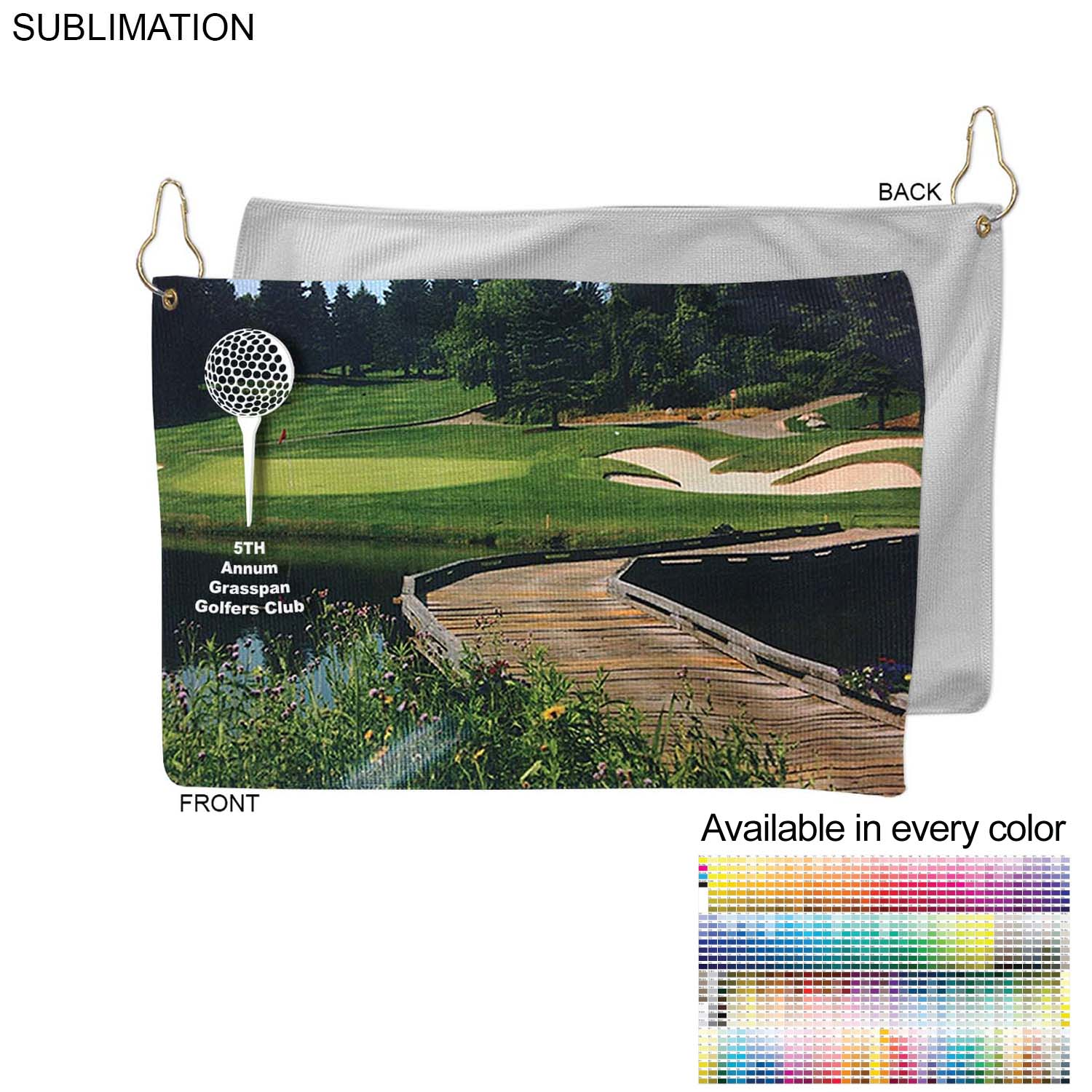 Microfiber Terry Golf Towel, 12x18,  SU178-5, Full Colour Imprint
