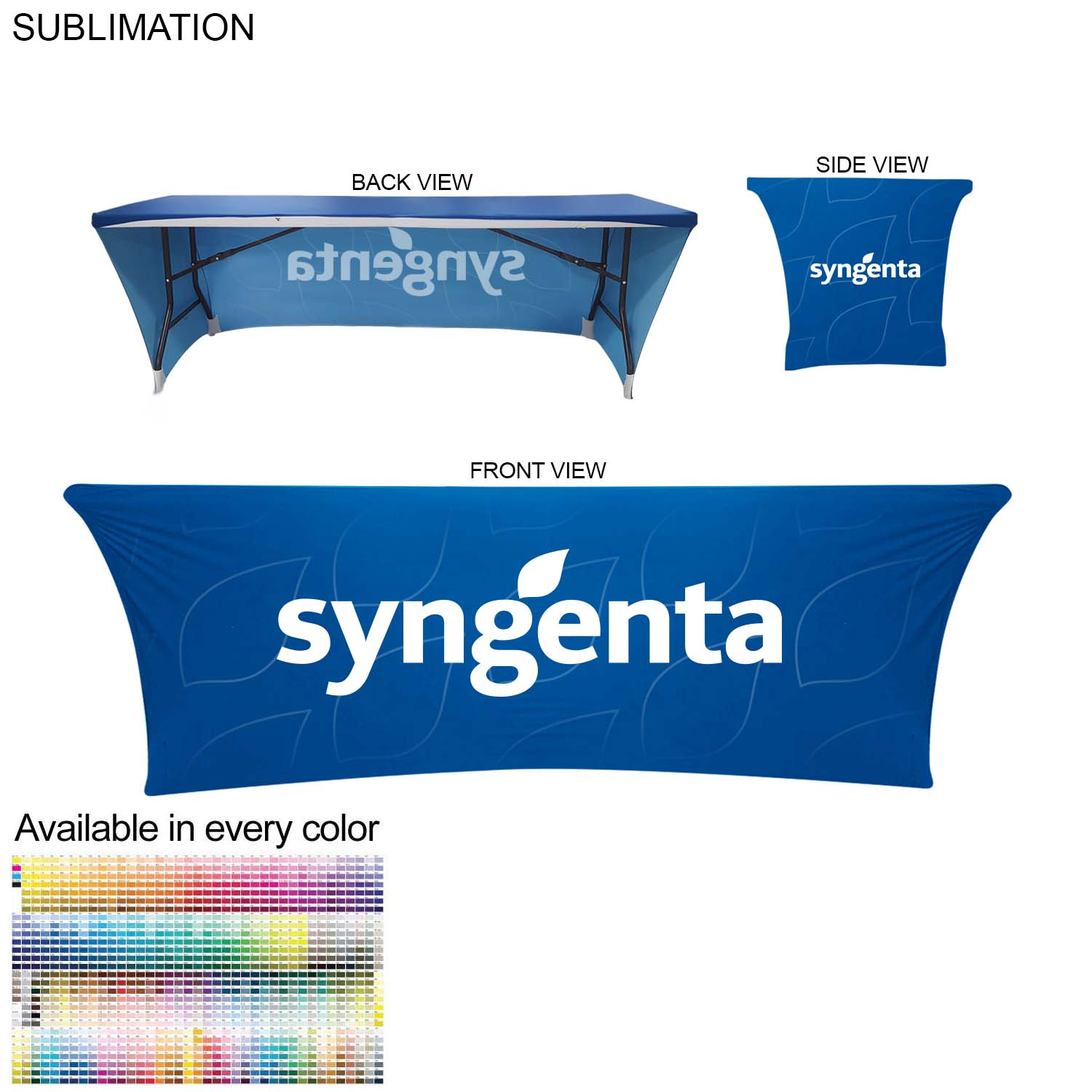 Sublimated 8' Stretch Fit Table Throw, Open Back - Full Colour Imprint (#SU578)