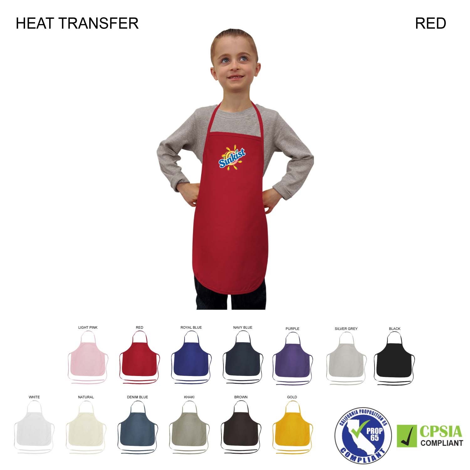 Kids Twill Bib Apron, 4 to 9 Years, Full Colour Imprint (#HT328)