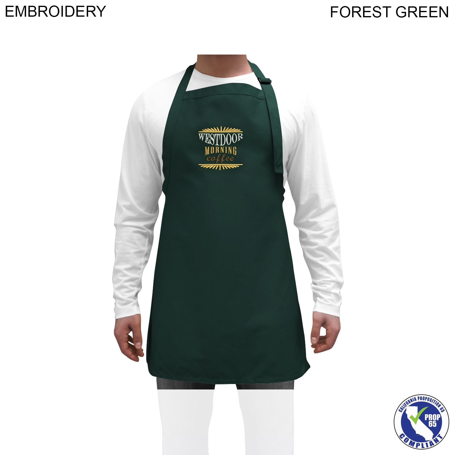 Twill Bib Apron, 25x28, Embroidered (#EM260)