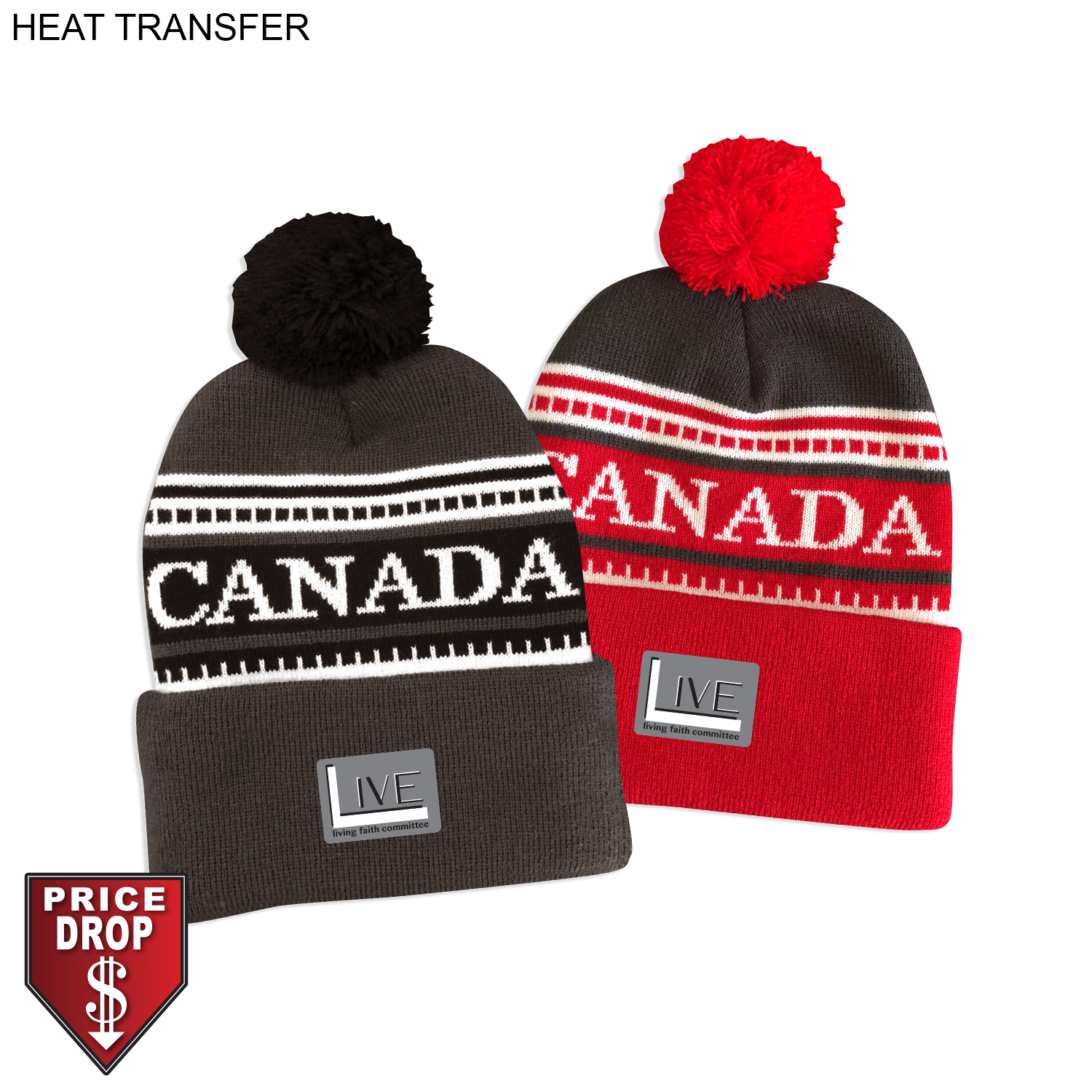 Canada Pom Pom Beanie,  HT592, Full Colour Imprint
