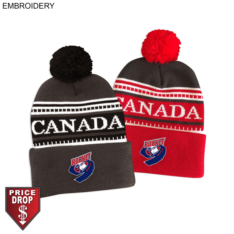 Canada Pom Pom Beanie, Embroidered (#EM592)