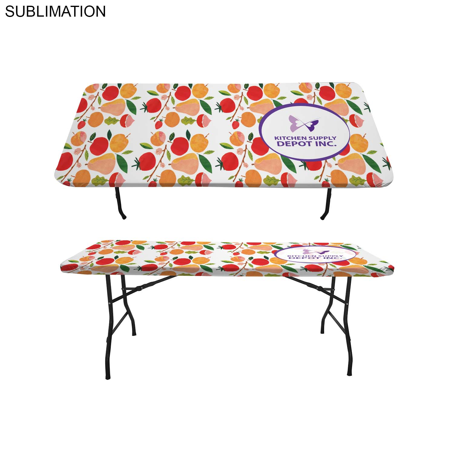 6' Stretch Fit Table Topper SU604, Full Colour Imprint
