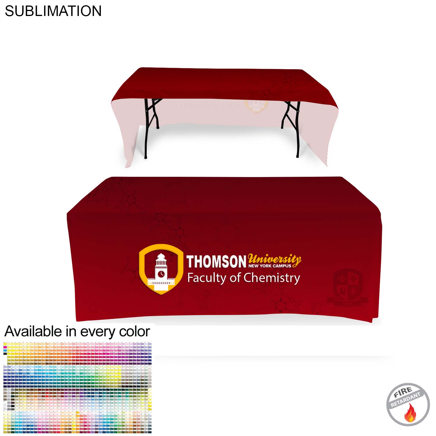 Faculty Tablethrow for 6' Table (Open Back),  SU499-3, Full Colour Imprint