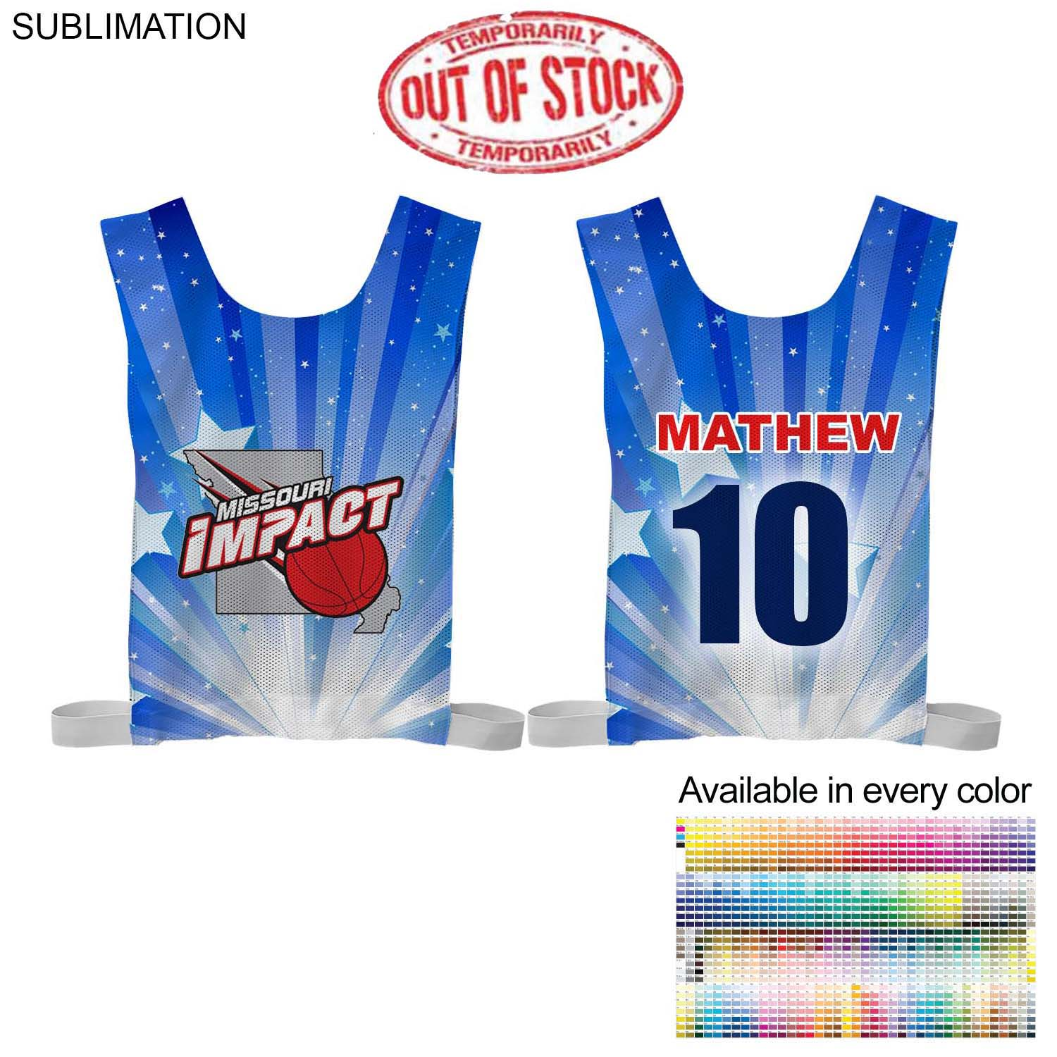 Sublimated Mesh Adult Sports Pinnie - Full Colour Imprint (#SU203)