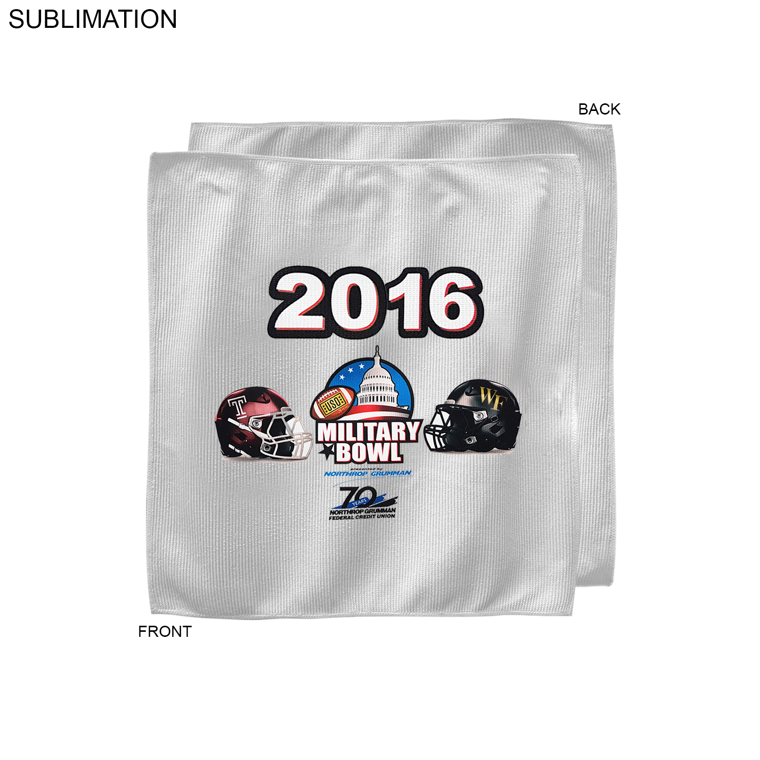 Bowl Game Rally Towel, 12x12,  SU206-6, Full Colour Imprint