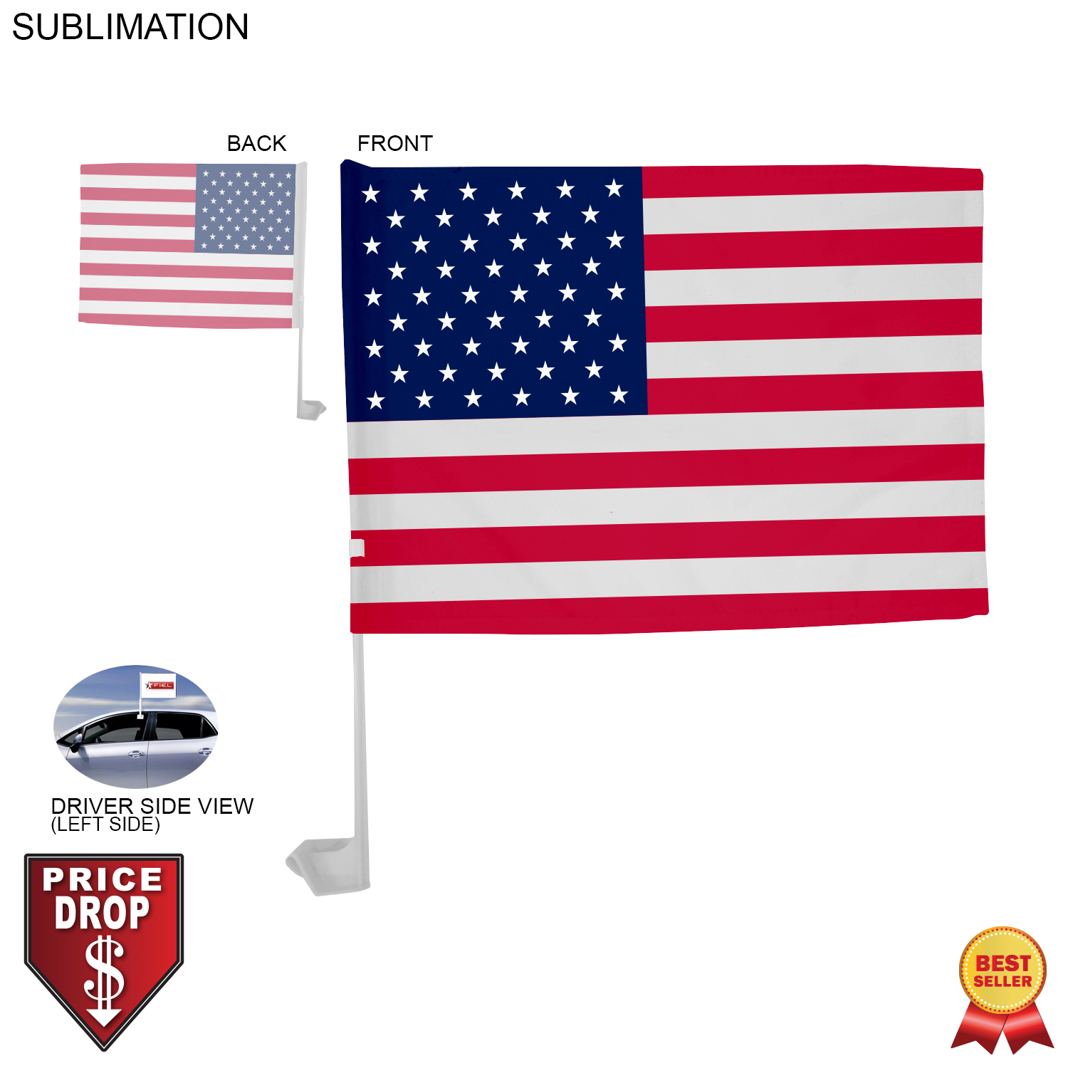 Standard Car Flags, 12x15, Sublimated - Full Colour Imprint (#SU563)