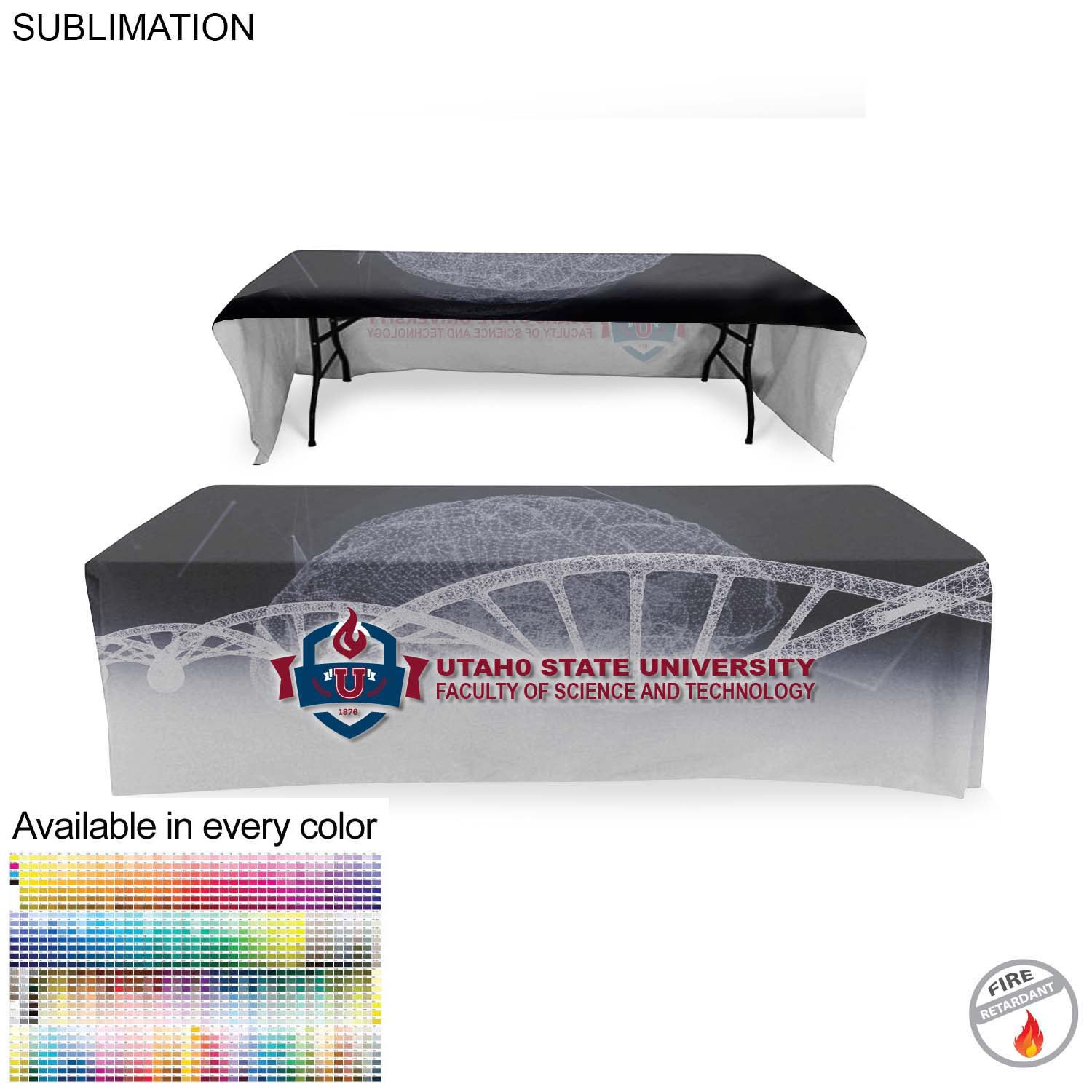 Faculty Table Throw for 8' Table (Open Back),  SU500-3, Full Colour Imprint