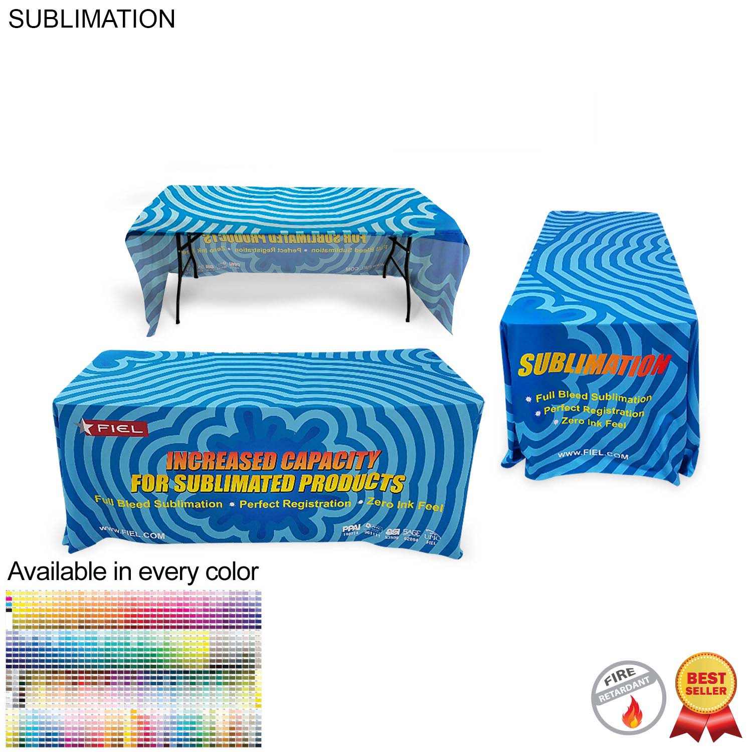 Sublimated Table Throw for 6' Table (Open Back) - Full Colour Imprint (#SU499)