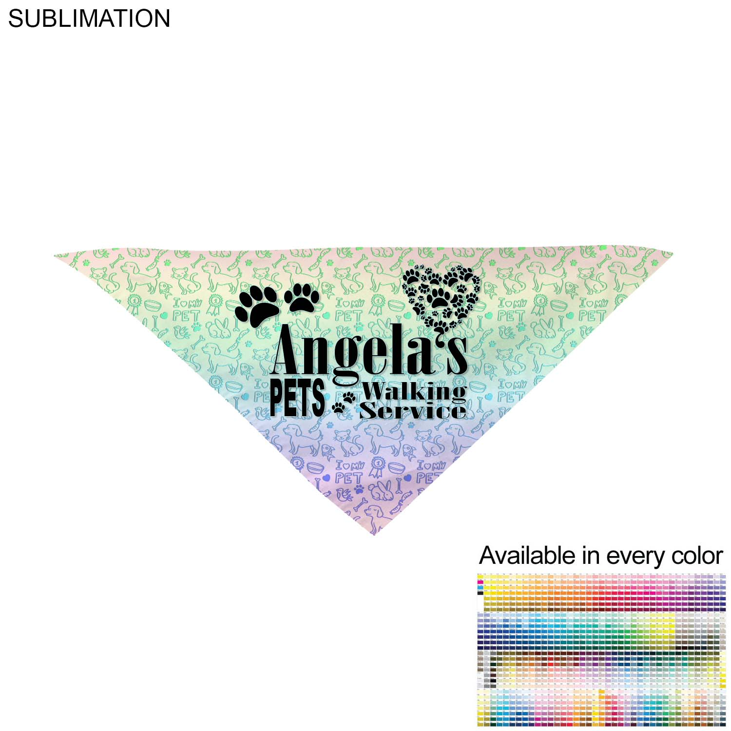 Medium Dog Bandana, 19x19x27,  SU469-2, Full Colour Imprint