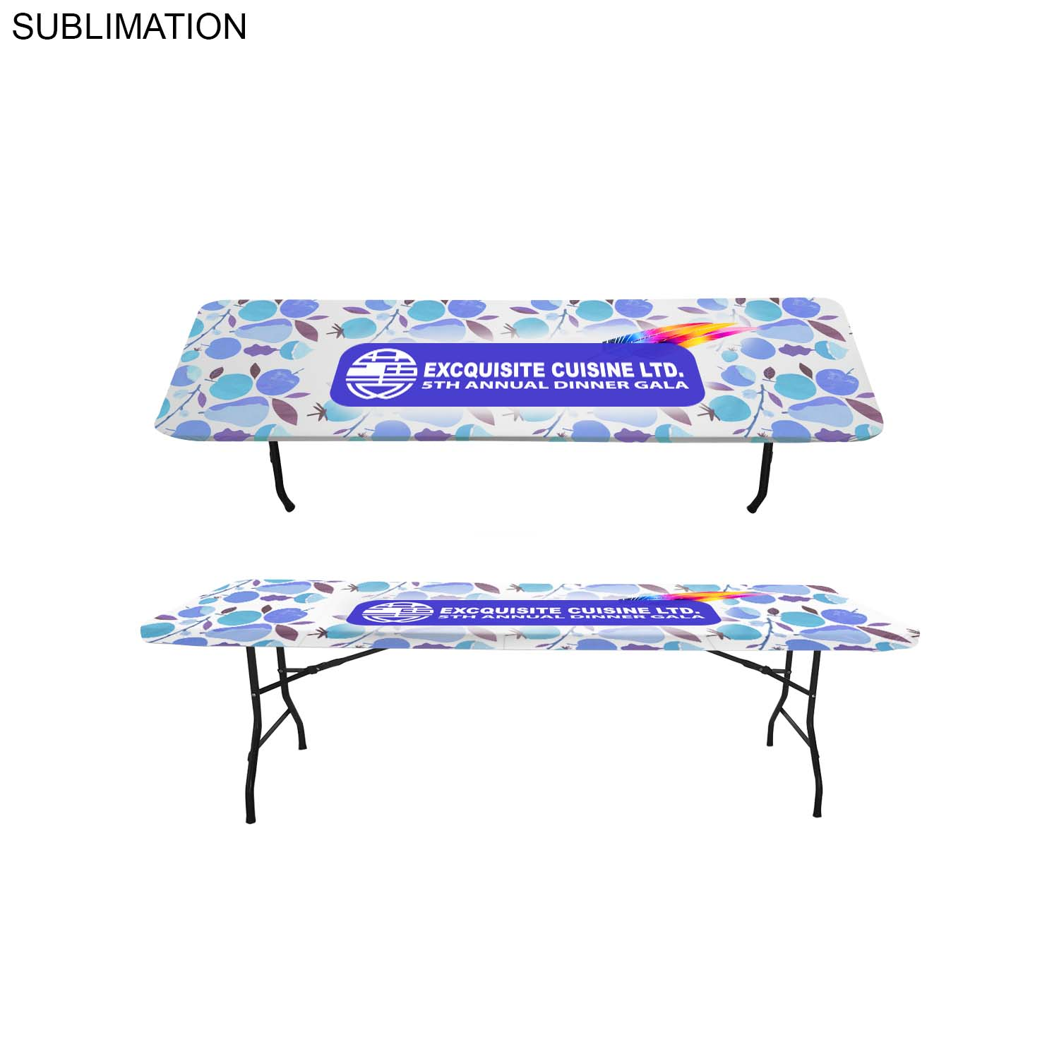 8' Stretch Fit Table Topper SU605, Full Colour Imprint