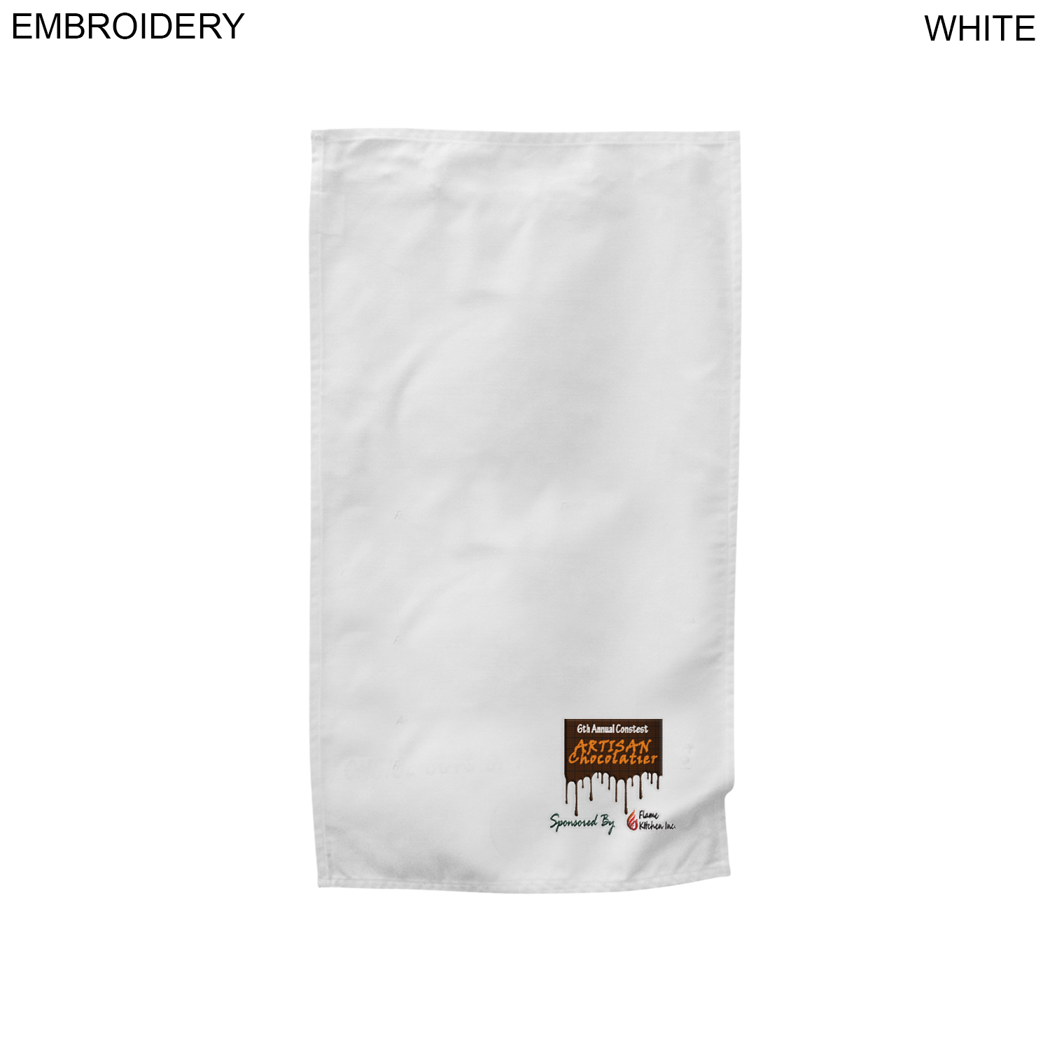 Imported Cotton Tea Towel, 17x30,  EM572, Embroidered Logo