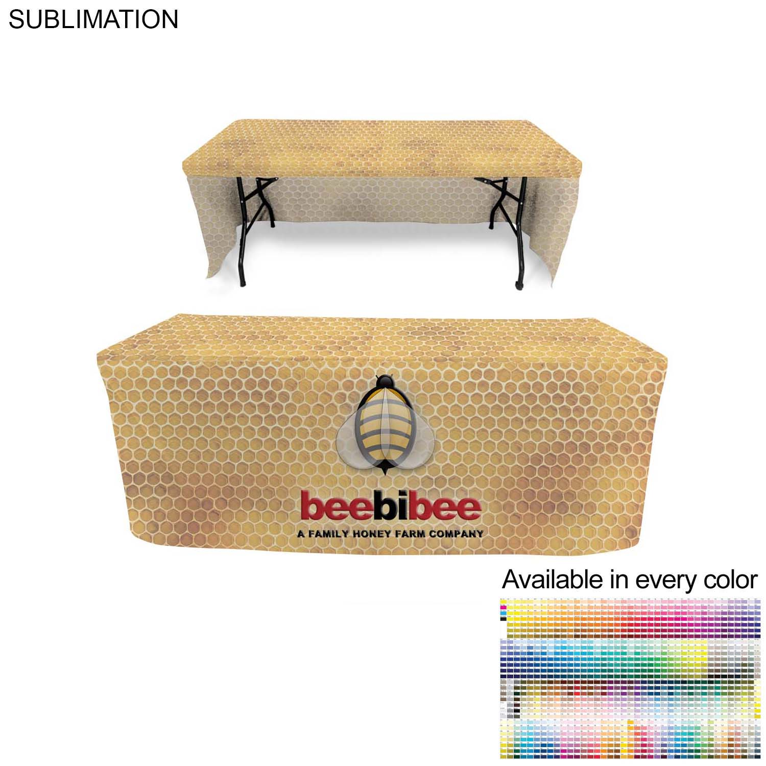 Box Style Cloth for 6' Table (Open Back),  SU509, Full Colour Imprint