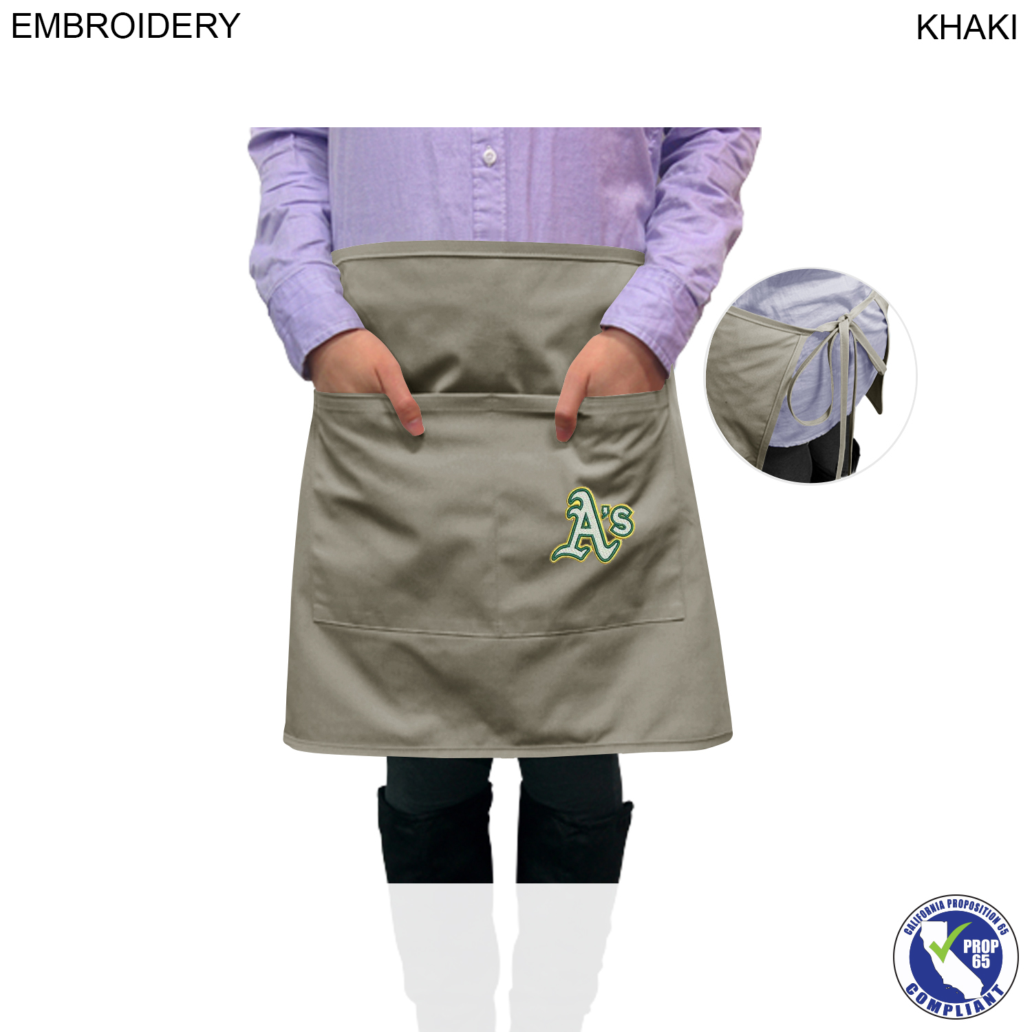 Bistro Apron 2 Pockets, Embroidered (#EM383)