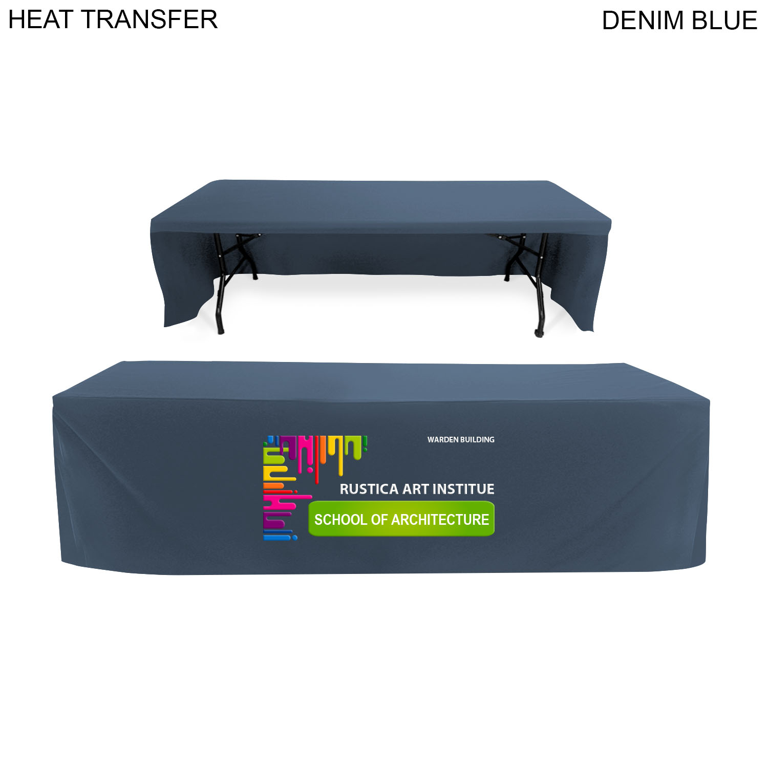 Box Style Cloth for 8' Table (Open Back),  HT616, Full Colour Imprint