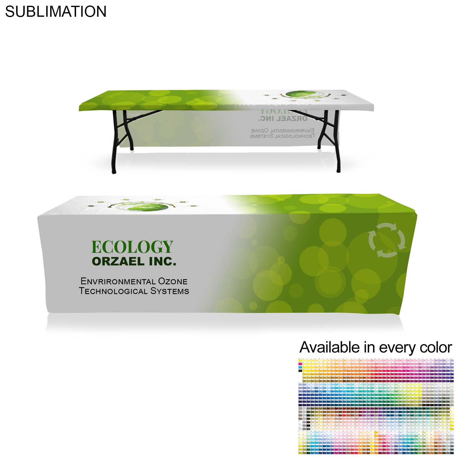 Table Throw for 10' Table (Open Sides & Back),  SU495, Full Colour Imprint