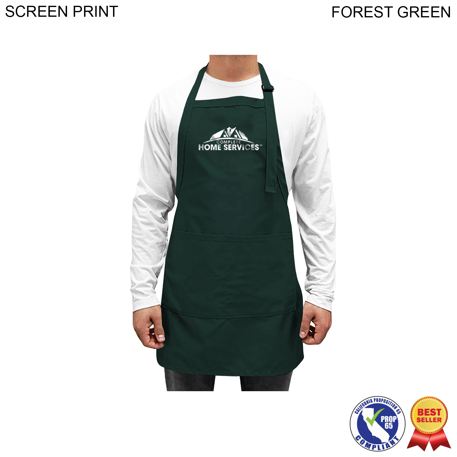 Twill Bib Apron, 2 Pockets, 1 Colour Imprint (#PR262)
