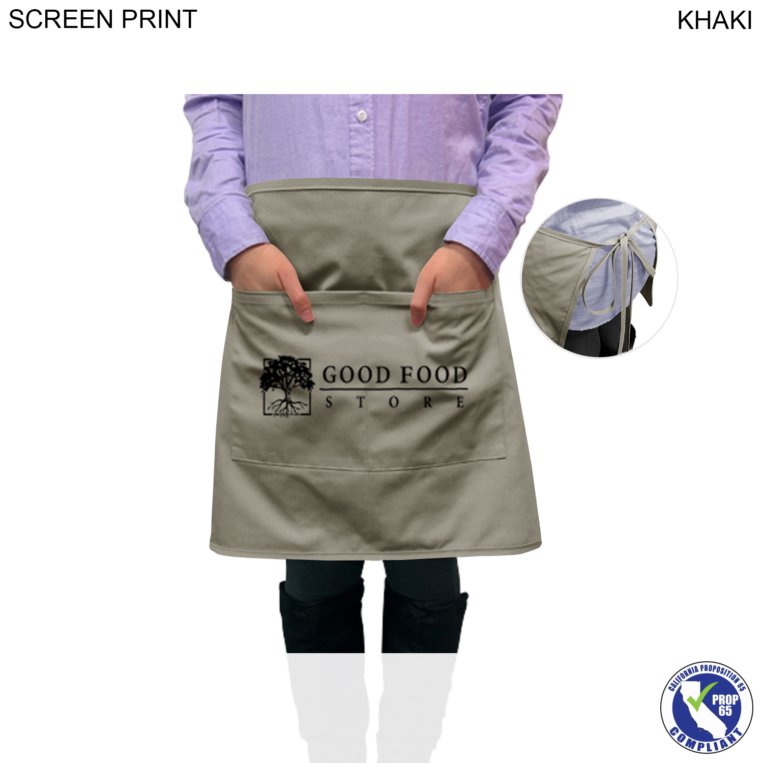 Bistro Apron 2 Pockets, 1 Colour Imprint (#PR383)