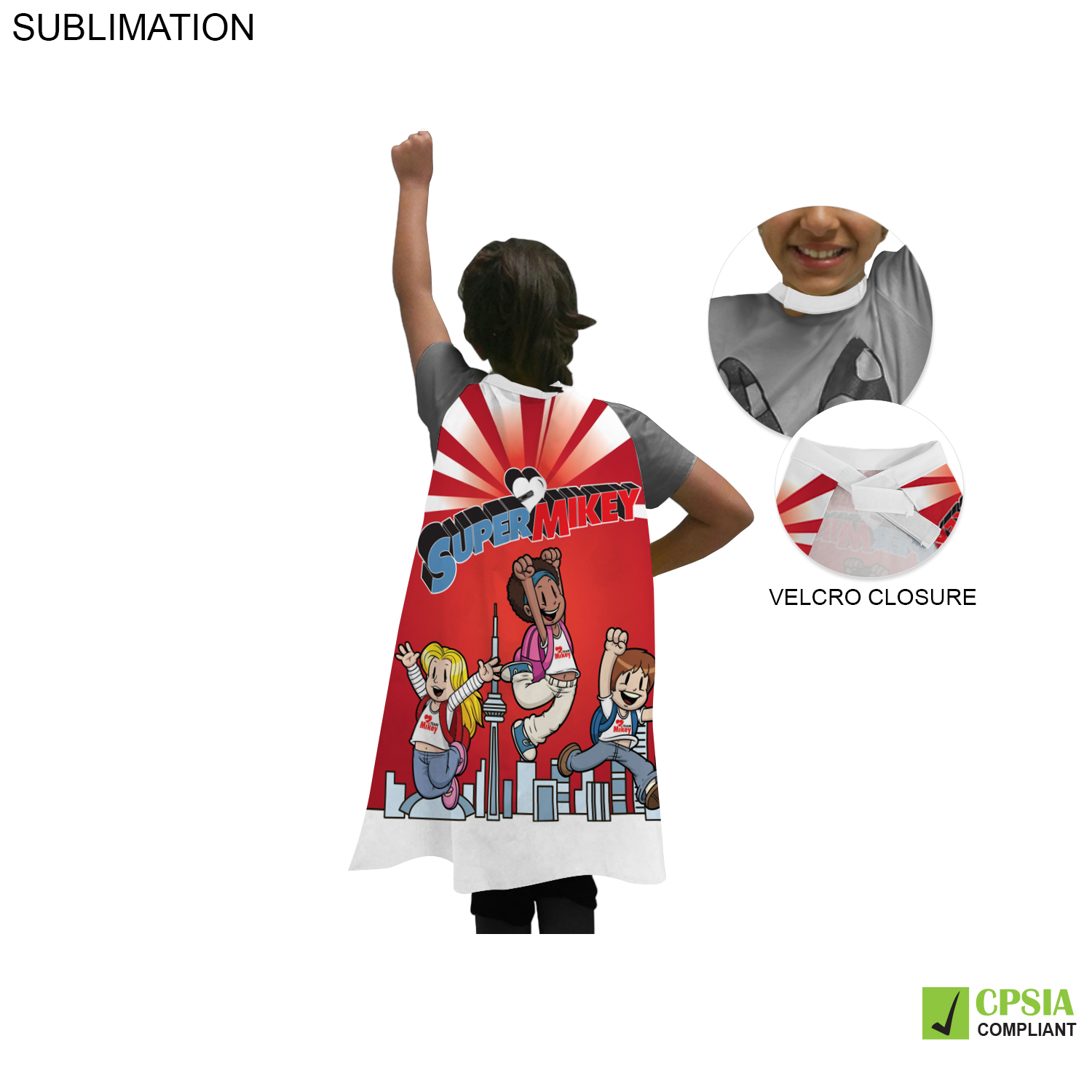 Kids Sublimated Polyester Super Hero Cape - Full Colour Imprint (#SU174)