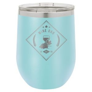 12oz. Light Blue Stainless Steel Vacuum Insulated Stemless Wine Glass w/Lid
