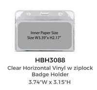 "Clear Horizontal Vinyl w/Ziplock Badge Holder (3.74"" x 3.15"")"