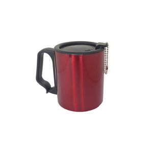 Promotional Product - Red 10 oz SS Double Wall Plastic Handle Mug w/ Cap  Keychain