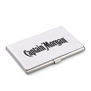 Stainless Steel Business Card Holder w/ Reflective Mirror