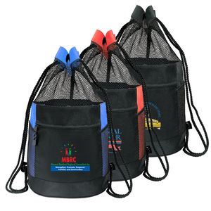 Deluxe Sports Travel Drawstring Mesh Tote Backpack Bag B 8421 Ideastage Promotional Products