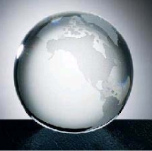 3 Crystal Glass World Globe w/Flat Bottom