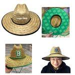 Custom Patch & Under Brim Straw Lifeguard Hat W/Chin Cord & Lock