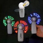 Custom Mini Handheld LED Light Up Fan With Flash Font