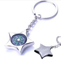 Portable five-pointed star compass key chain
