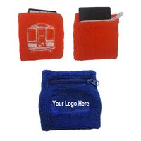 Zipper Pocket Terry Sweatband w/ One Color Embroidered