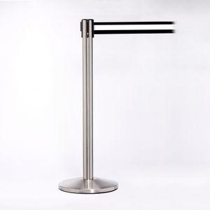 Stainless Pole W/ 11 Heavy Duty Horizontally Striped White/Black Belt W/ Lock