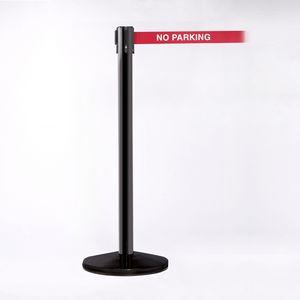 Black Pole W/ 11 Heavy Duty Belt/Lock W/ No Parking Message Red/White