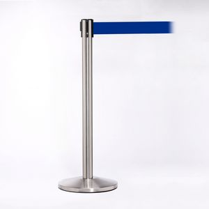 Matte Stainless Pole W/ 11 Heavy Duty Navy Blue Belt W/ Lock - Pack of 2
