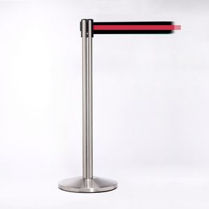 Matte Stainless Pole W/ 11 Heavy Duty Horizontally Stripe Red/Black Belt W/ Lock