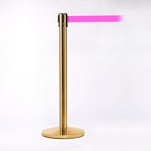 Polished Brass Pole W/ 11 Heavy Duty Fluorescent Pink Belt W/ Lock - Pack of 2