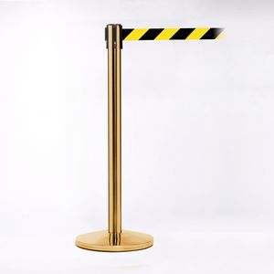 Polished Brass Pole 11 - Diagonally Stripped Belt W/ Lock, Yellow/Black Pack of 2