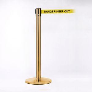 Crowd Control Brass Pole W/ 11 Heavy Duty Belt W/ Danger Keep Out Message